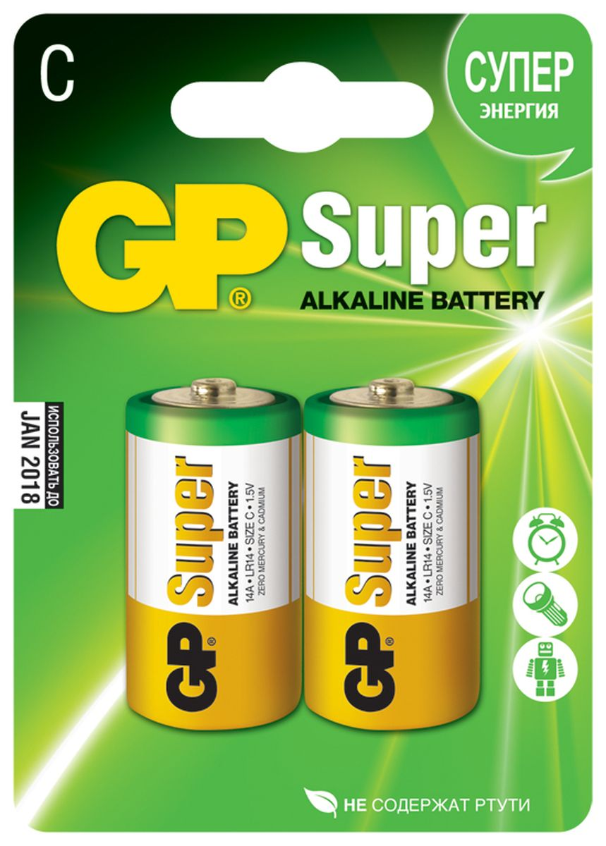 Набор алкалиновых батареек GP Batteries Super Alkaline, тип С, 2 шт ag8 lr55 1 55v alkaline cell button batteries 10 piece pack
