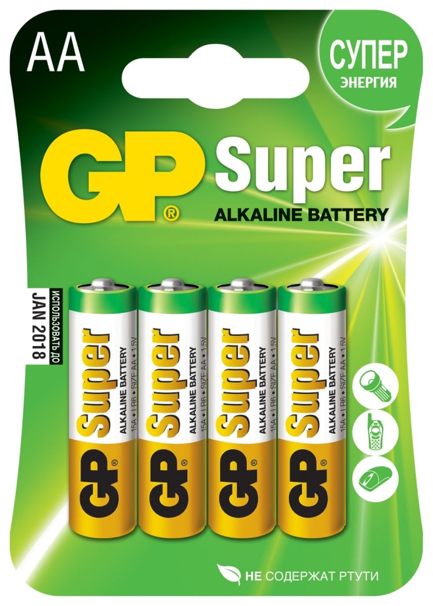 Батарейка алкалиновая GP Batteries Super Alkaline, тип АА, 4 шт батарейка алкалиновая gp batteries super alkaline тип аа 96 шт