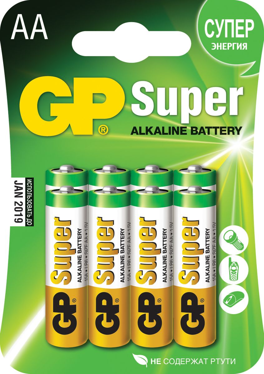 Батарейка алкалиновая GP Batteries Super Alkaline, тип АА, 8 шт goop ag8 lr55 391 191 1 5v alkaline cell button batteries 10 x 10 pcs