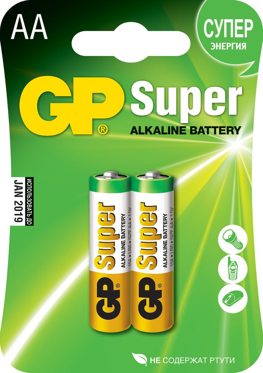Набор алкалиновых батареек GP Batteries Super Alkaline, тип АА, 2 шт ag8 lr55 1 55v alkaline cell button batteries 10 piece pack