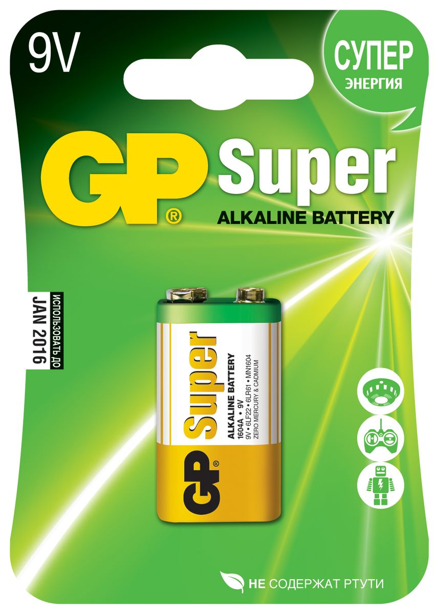 Батарейка алкалиновая GP Batteries Super Alkaline, тип крона, 9V ag1 lr621 1 55v alkaline cell button batteries 10 piece pack
