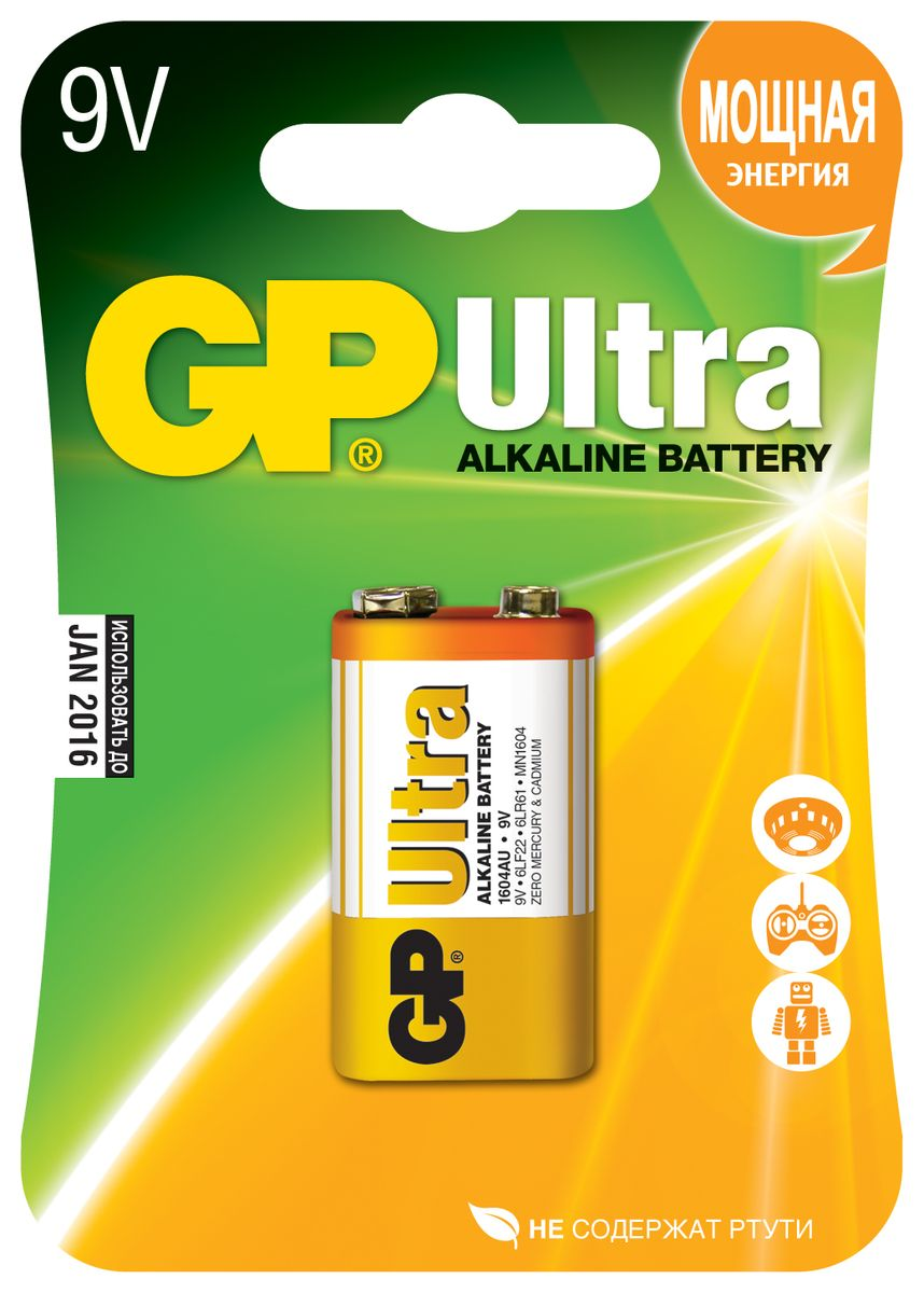 Батарейка алкалиновая GP Batteries Ultra Alkaline, тип крона, 9V ag1 lr621 1 55v alkaline cell button batteries 10 piece pack