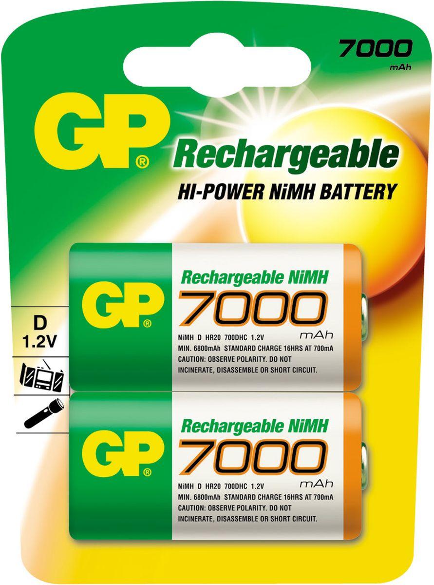 Фото - Аккумулятор GP Batteries, тип D, 7000 mAh, 2 шт внешний аккумулятор для портативных устройств hiper circle 500 blue circle500blue