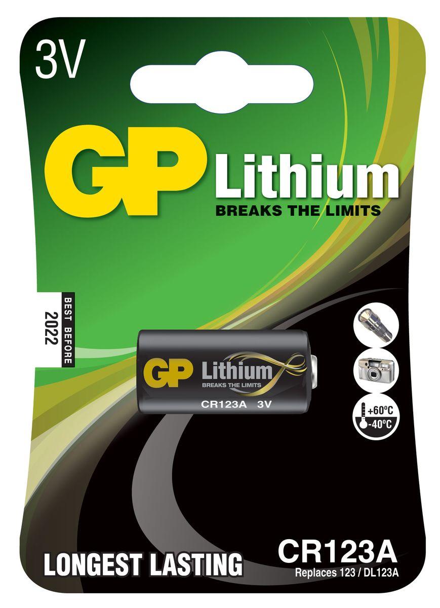 Батарейка литиевая GP Batteries, тип CR123 (CR17345), 3В3187Литиевая батарейка GP Batteries типа CR123 (CR17345) оптимально подходит для повседневного питания фонарей, фотоаппаратов, медицинских приборов, а также для профессиональной техники. Батарейка создана для устройств со средним и высоким потреблением энергии. Особенности: - на 40% легче обычных батареек;- демонстрирует превосходный результат при экстремальных погодных условиях (от -40°C до 60°C);- встроенная система защиты.
