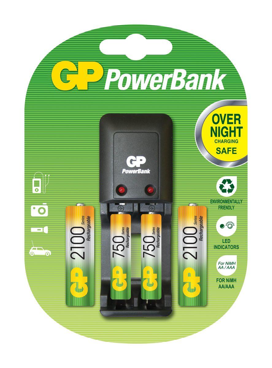 Зарядное устройство для аккумуляторов GP Batteries + 2 АА (2100 mAh) + 2 ААА (750 mAh) зарядное устройство samsung pleomax 1016 4hr6 2300 mah aa aaa 26203