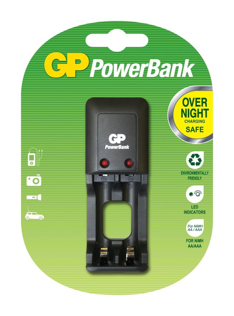 Зарядное устройство GP Batteries, для 2-х аккумуляторов типа АА, ААА зарядное устройство duracell cef14 аккумуляторы 2 х aa2500 mah 2 х aaa850 mah