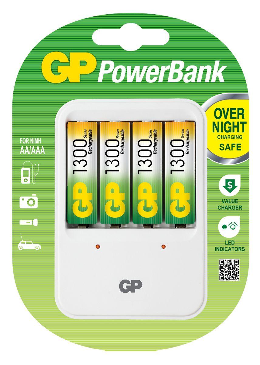 Зарядное устройство для аккумуляторов GP Batteries + 4 АА (1300 mAh)3547Простое в использовании зарядное устройство GP Batteries предназначено для зарядки никель-металлогидридных аккумуляторов. Заряжает аккумуляторы АА любой мощности. Четыре независимых канала позволяют заряжать 4 аккумулятора типа AA одновременно. Светодиодные индикаторы показывают уровень зарядки батарей. В устройстве предусмотрена автоматическая защита от перегрузки и перегрева. В комплект входят: 4 аккумулятора типа AA (1300 mAh).