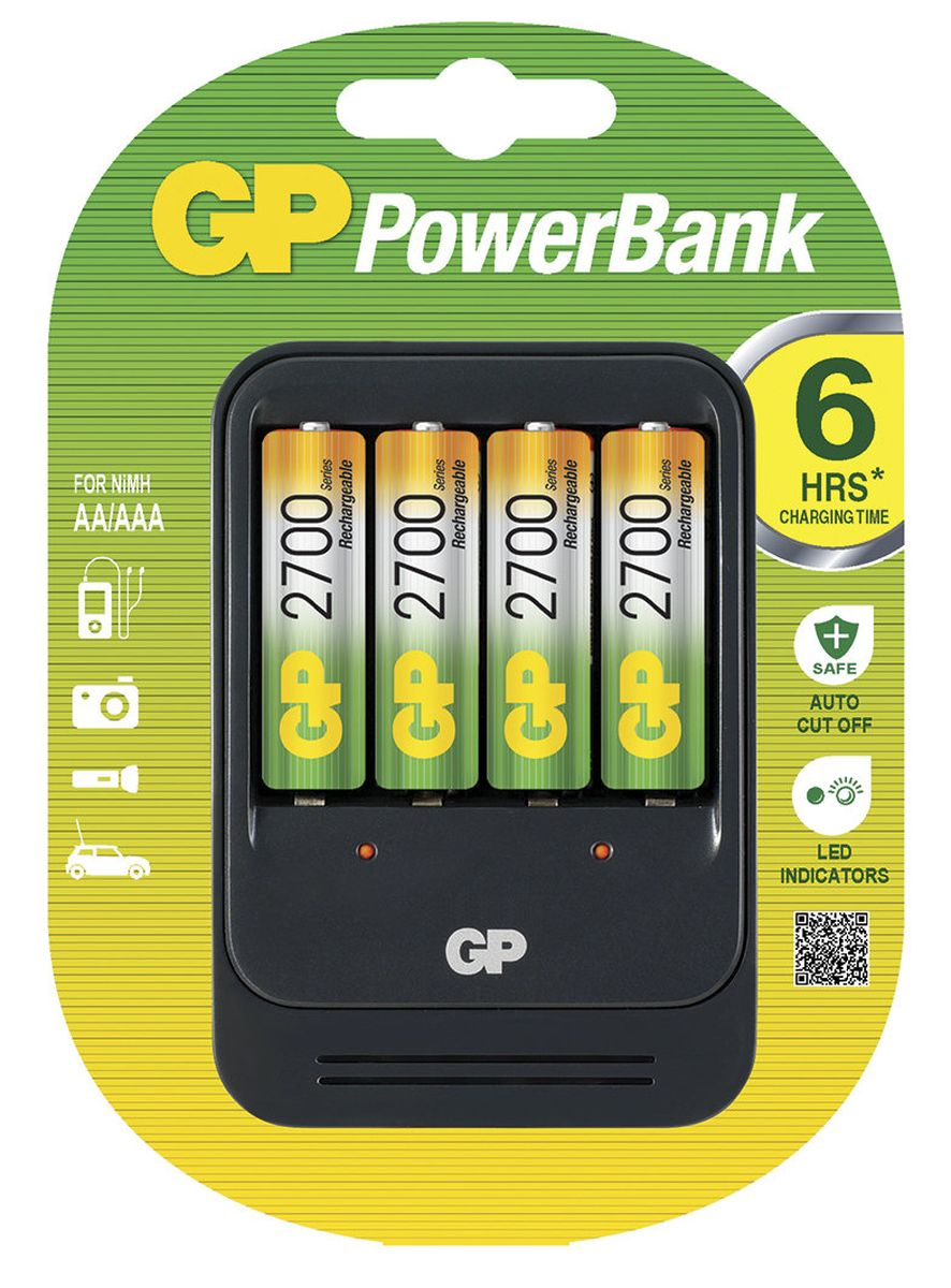Зарядное устройство  GP Batteries  PB570 для заряда 4-х аккумуляторов типа АА, ААА + комплект из 4-х аккумуляторов NiMh, 2700 mAh, тип АА - Батарейки и аккумуляторы