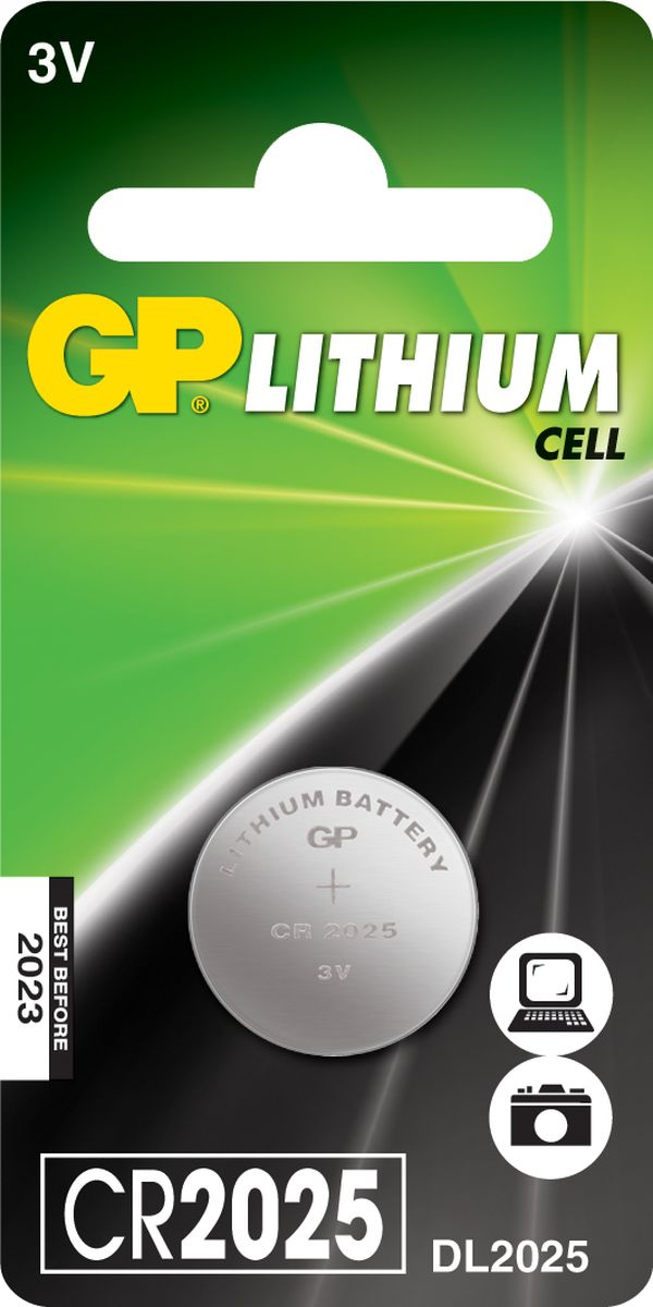 Батарейка литиевая GP Batteries, тип СR2025, 3В8608Литиевая батарейка GP Batteries типа СR2025 предназначенадля обеспечения питания мелкогабаритной техники:карманных фонариков, фотоаппаратов, а также длямедицинских приборов. Батарейка создана для устройств сосредним и высоким потреблением энергии.Особенности:- на 40% легче обычных батареек; - демонстрирует превосходный результат при экстремальныхпогодных условиях (от -40°C до 60°C); - встроенная система защиты.