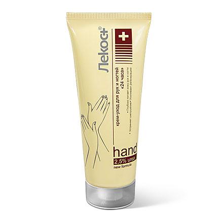 Лекос+ Крем-уход для рук и но гтей «24 ЧАСА», 75 мл13448Крем-уход специально разработан для увлажнения и защиты очень сухой кожи рук и кутикулы. Повышает тургор и эластичность кожи, смягчает, увлажняет и питает. Крем проявляет регенерирующую активность и действует как UV-фильтр. Защищает кожу от воздействия свободных радикалов, стимулирует активность клеток кожи, освежает и увлажняет, омолаживает кожу рук.