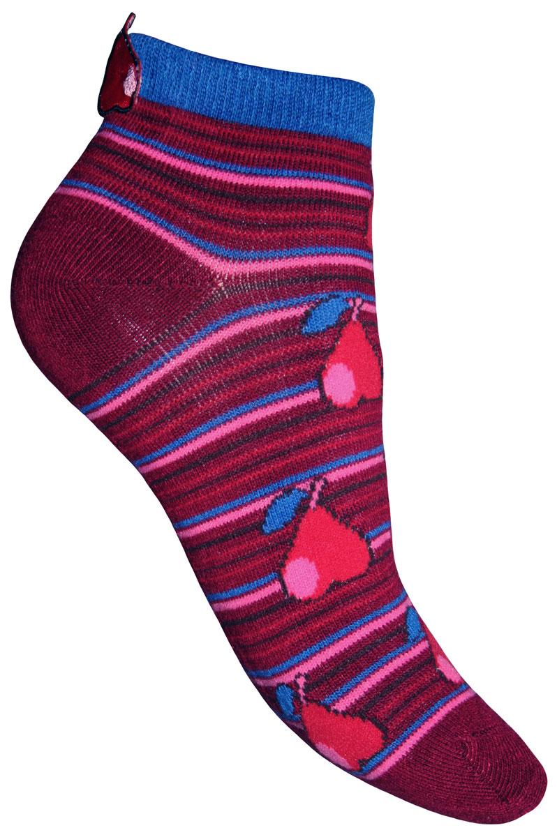 Носки для девочки Master Socks Sunny Kids, цвет: бордовый. 82610. Размер 2082610Детские носки Master Socks Sunny Kids изготовлены из высококачественных материалов. Ткань очень мягкая и тактильно приятная. Содержание бамбука в составе обеспечивает высокую прочность, эластичность и воздухопроницаемость. Изделие хорошо стирается, длительное время сохраняет привлекательный внешний вид. Эластичная резинка мягко облегает ножку ребенка, обеспечивая удобство и комфорт. Укороченная модель оформлена принтом в полоску и изображением груш. Украшены носочки аппликацией в виде груши. Красивые и удобные носочки станут отличным дополнением к детскому гардеробу!Уважаемые клиенты!Размер, доступный для заказа, является длиной стопы.