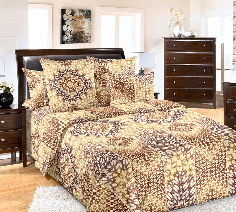 Комплект белья Primavera Воображение, семейный, наволочки 70x70, цвет: желто-коричневый