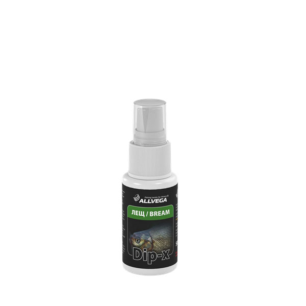 Ароматизатор-спрей ALLVEGA Dip-X Bream - ЛЕЩ, 50 мл. 5263052630Это серия высококонцентрированных растворов с различными запахами в виде спрея, предназначенных для быстрой ароматизации различных наживок и приманок, втом числе искусственных. Широкий ассортимент запахов позволяет выбрать оптимальный вариант в любой ситуации.