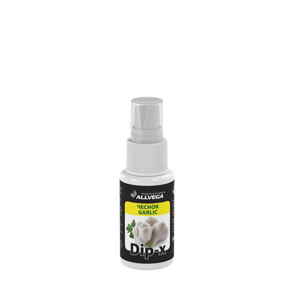 Ароматизатор-спрей ALLVEGA Dip-X Garlic, чеснок, 50 мл52635Это серия высококонцентрированных растворов с различными запахами в виде спрея, предназначенных для быстрой ароматизации различных наживок и приманок, втом числе искусственных. Широкий ассортимент запахов позволяет выбрать оптимальный вариант в любой ситуации.