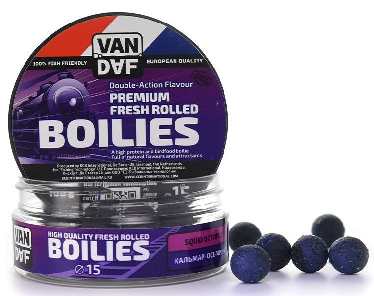 Бойлы VAN DAF Кальмар-осьминог, цвет: фиолетовый, диаметр 15 мм, 100 г спрей van daf супер спайс 50 мл