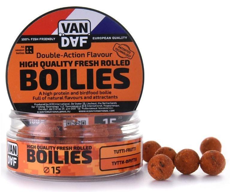 Бойлы VAN DAF Тутти-фрутти, цвет: оранжевый, диаметр 15 мм, 100 г57285Бойлы VAN DAF Тутти-фрутти произведены на современном оборудовании по технологии D.A.F. (Double Action Flavour). Этот способ производства на протяжении многих лет подтверждает высочайшее качество продукции и показывает отличные результаты на рыболовных сессиях. В особенности данной технологии заложена концепция дуализма, суть которой - в уникальной сочетаемости вкуса и аромата. Бойлы оказывают двойное воздействие на обонятельно-вкусовые рецепторы каждого карпа.Такие бойлы - это высокопротеиновый продукт, изготовленный из высококачественных ингредиентов с использованием казеината кальция, яичного альбумина, рыбной муки, специй, ореховых и бобовых добавок. Обязательным является применение в рецептах N.H.D.C. подсластителя и масляной кислоты (N-Butyric Acid) - веществ, которые зарекомендовали себя, как наиболее эффективные при ловле карпа.Бойлы показывают высокие результаты на водоемах любого типа и полностью адаптированы к российским условиям. Подходят как для прикармливания, так и для насадки. Продукт рассчитан на ловлю при любой температуре воды. Аминокислоты, легко усваиваемые протеины, фруктовые и пряные эфиры, дрожжи и другие сильнодействующие кормовые добавки позволили создать уникальные вкусы и ароматы, стимулирующие рыбу кормиться снова и снова.Диаметр: 15 мм.Товар сертифицирован.