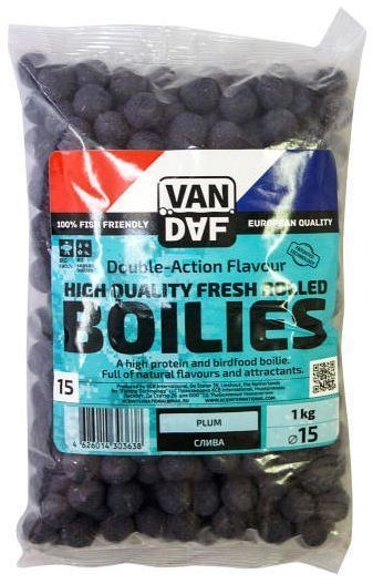 Бойлы VAN DAF Слива, цвет: фиолетовый, диаметр 15 мм, 1 кг57290Бойлы VAN DAF Слива произведены на современном оборудовании по технологии D.A.F. (Double Action Flavour). Этот способ производства на протяжении многих лет подтверждает высочайшее качество продукции и показывает отличные результаты на рыболовных сессиях. В особенности данной технологии заложена концепция дуализма, суть которой - в уникальной сочетаемости вкуса и аромата. Бойлы оказывают двойное воздействие на обонятельно-вкусовые рецепторы каждого карпа.Такие бойлы - это высокопротеиновый продукт, изготовленный из высококачественных ингредиентов с использованием казеината кальция, яичного альбумина, рыбной муки, специй, ореховых и бобовых добавок. Обязательным является применение в рецептах N.H.D.C. подсластителя и масляной кислоты (N-Butyric Acid) - веществ, которые зарекомендовали себя, как наиболее эффективные при ловле карпа.Бойлы показывают высокие результаты на водоемах любого типа и полностью адаптированы к российским условиям. Подходят как для прикармливания, так и для насадки. Продукт рассчитан на ловлю при любой температуре воды. Аминокислоты, легко усваиваемые протеины, фруктовые и пряные эфиры, дрожжи и другие сильнодействующие кормовые добавки позволили создать уникальные вкусы и ароматы, стимулирующие рыбу кормиться снова и снова.Диаметр: 15 мм.Товар сертифицирован.