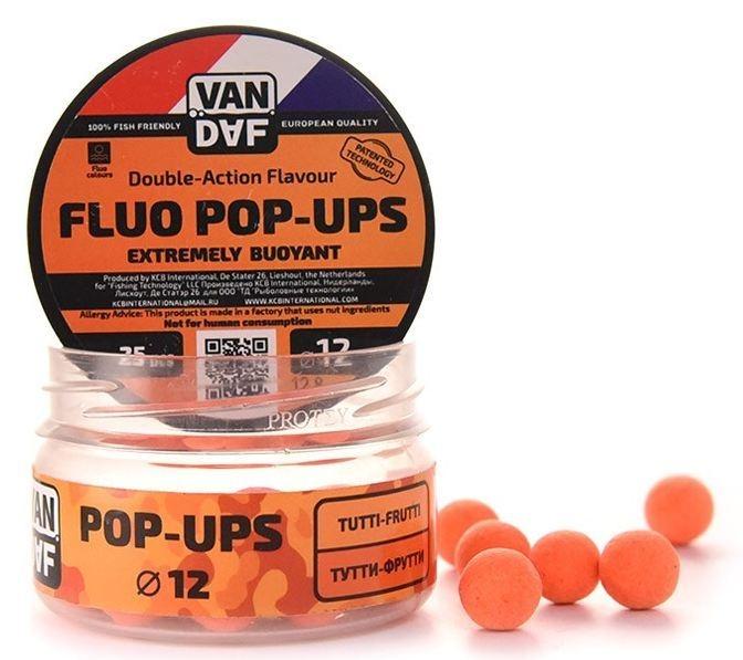 Поп-апы VAN DAF Тутти-фрутти, цвет: оранжевый, диаметр 12 мм, 25 шт57302Поп-апы VAN DAF Тутти-фрутти - это невероятно привлекательная насадка с потрясающей видимостью даже в воде с минимальной прозрачностью. Сохраняет положительную плавучесть несколько часов. Поп-апы созданы для традиционной карповой ловли, а в сочетании с жидкими аттрактантами VAN DAF являются отменной насадкой для ловли на FLAT FEEDER (флэт фидер). Поп-апы имеют уникальную мягкую губчатую структуру, отлично впитывающую стимуляторы аппетита и мгновенно отдающую запах в воде.Вы можете без проблем проткнуть их иглой или привязать к волосу. Мягкий и податливый материал легко режется. С помощью ножа или ножниц вы сможете придать любой размер или форму вашей насадке.Каждый POP-UP пропитан ароматизатором с привлекательным для карпа запахом. Яркий флуоресцентный цвет делает насадку на волосе хорошо заметной, а расходящийся от нее запах выделяет ее на дне и провоцирует рыбу на поклевку.Измельчив и добавив их в спод-микс совместно с пеллетсом, зерновыми миксами, резаными бойлами, можно придать смеси активность с помощью всплывающих частиц.Диаметр: 12 мм.Товар сертифицирован.