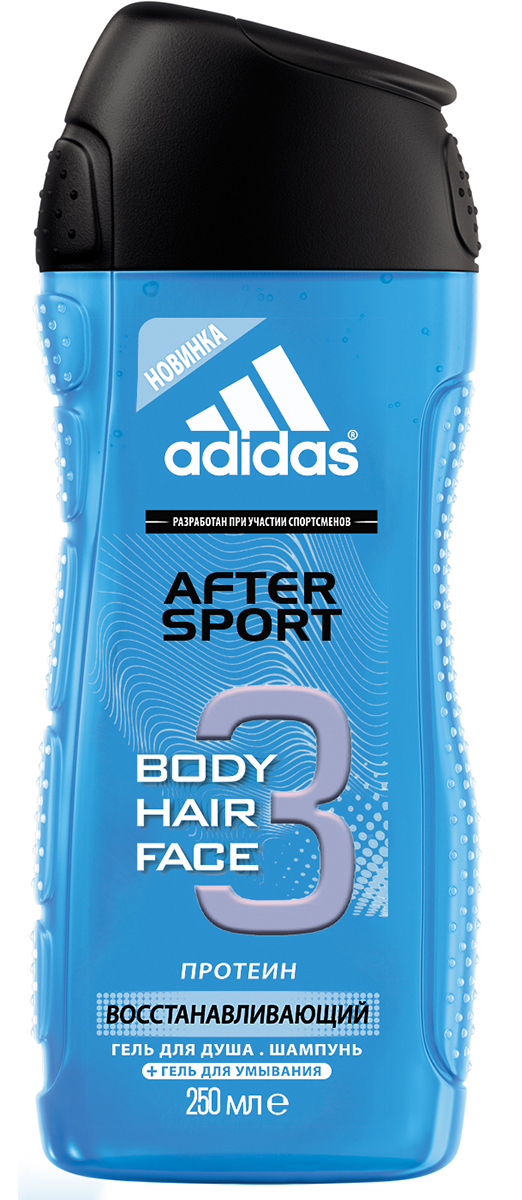 Adidas Гель для душа, шампунь и гель для умывания Body-Hair-Face After Sport, мужской, 250 мл adidas гель для душа шампунь и гель для умывания для мужчин ice dive 250 мл