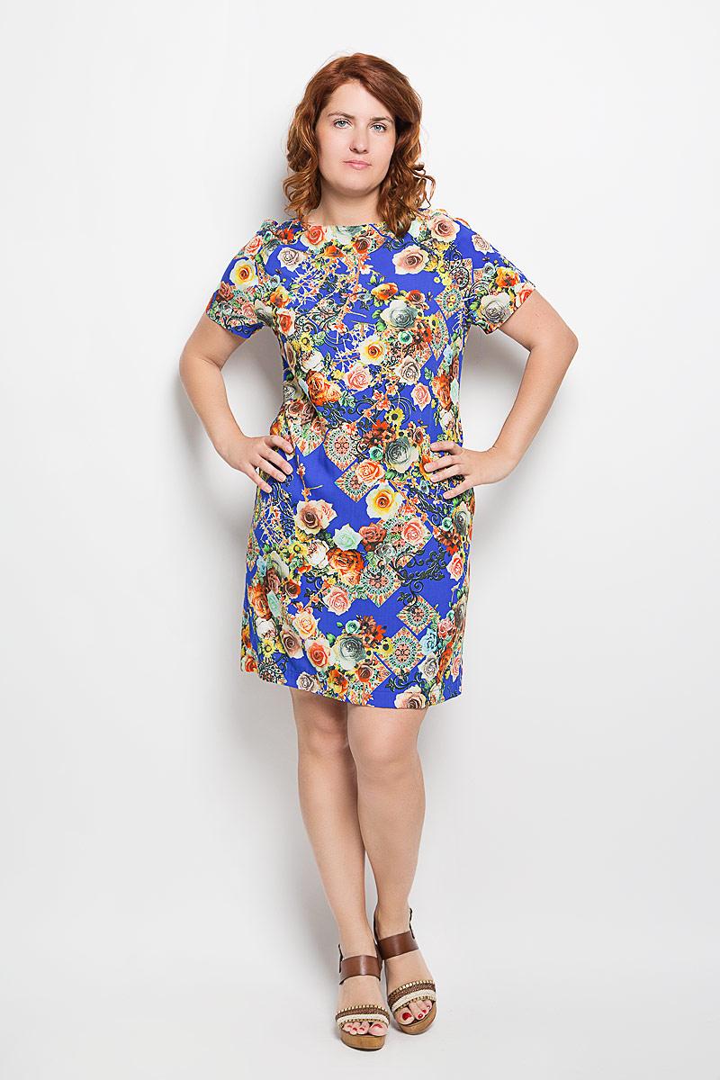 Платье Milana Style, цвет: васильковый. 110416. Размер XL (50)110416Платье Milana Style, выполненное из мягкого и легкого материала, поможет создать яркий женственный образ. Ткань изделия тактильно приятная, хорошо пропускает воздух.Модель с круглым вырезом горловины и короткими рукавами-реглан оформлена цветочным принтом. Такое платье станет замечательным дополнением к вашему гардеробу!