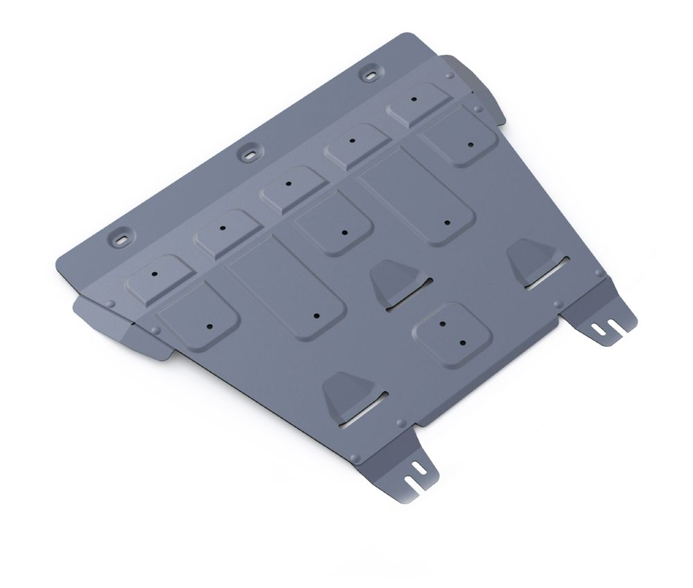 Защита картера и КПП Rival, для FORD Mondeo V. 333.1849.1333.1849.1Защита картера и КПП для Ford Mondeo, 2,5; 2,0(199hp) 2015-, крепеж в комплекте, алюминий 4 мм, Rival. Надежно защищают днище вашего автомобиля от повреждений, например при наезде на бордюры, а также выполняют эстетическую функцию при установке на высокие автомобили.- Толщина алюминиевых защит в 2 раза толще стальных, а вес при этом меньше до 30%.- Отлично отводит тепло от двигателя своей поверхностью, что спасает двигатель от перегрева в летний период или при высоких нагрузках.- В отличие от стальных, алюминиевые защиты не поддаются коррозии, что гарантирует срок службы защит более 5 лет.- Покрываются порошковой краской, что надолго сохраняет первоначальный вид новой защиты и защищает от гальванической коррозии.- Глубокий штамп дополнительно усиливает конструкцию защиты.- Подштамповка в местах крепления защищает крепеж от срезания.- Технологические отверстия там, где они необходимы для смены масла и слива воды, оборудованные заглушками, надежно закрепленными на защите.Уважаемые клиенты!Обращаем ваше внимание, на тот факт, что защита имеет форму, соответствующую модели данного автомобиля. Фото служит для визуального восприятия товара.