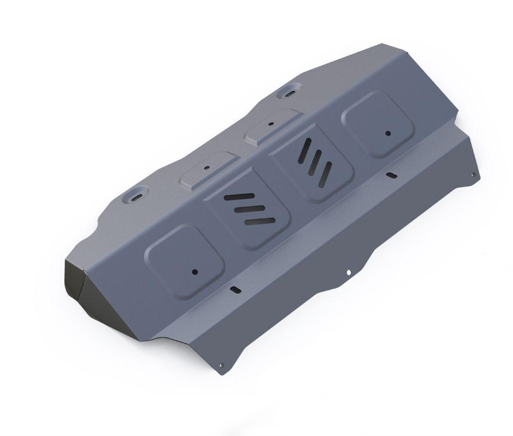 Защита радиатора и картера Rival, для Toyota Hilux. 3.9501.13.9501.1Защита радиатора и картера часть 1 для Toyota Hilux 4WD, V - 2,4; 2,8 2015- , без крепежа (штатный), алюминий 4 мм, Rival. Надежно защищают днище вашего автомобиля от повреждений, например при наезде на бордюры, а также выполняют эстетическую функцию при установке на высокие автомобили.- Толщина алюминиевых защит в 2 раза толще стальных, а вес при этом меньше до 30%.- Отлично отводит тепло от двигателя своей поверхностью, что спасает двигатель от перегрева в летний период или при высоких нагрузках.- В отличие от стальных, алюминиевые защиты не поддаются коррозии, что гарантирует срок службы защит более 5 лет.- Покрываются порошковой краской, что надолго сохраняет первоначальный вид новой защиты и защищает от гальванической коррозии.- Глубокий штамп дополнительно усиливает конструкцию защиты.- Подштамповка в местах крепления защищает крепеж от срезания.- Технологические отверстия там, где они необходимы для смены масла и слива воды, оборудованные заглушками, надежно закрепленными на защите.Уважаемые клиенты!Обращаем ваше внимание, на тот факт, что защита имеет форму, соответствующую модели данного автомобиля. Фото служит для визуального восприятия товара.