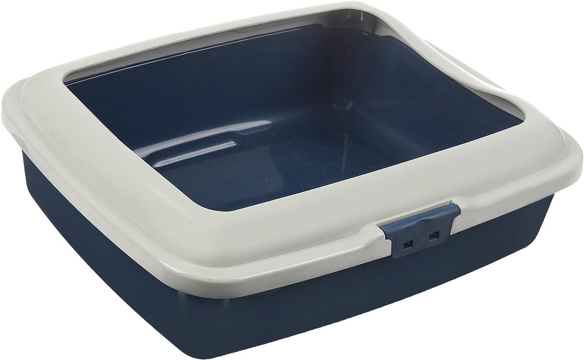 Туалет для кошек Marchioro Goa, с бортом, цвет: синий, бежевый, 43 х 33 х 14 см автомобильная лампа j power sj6smd 36mm