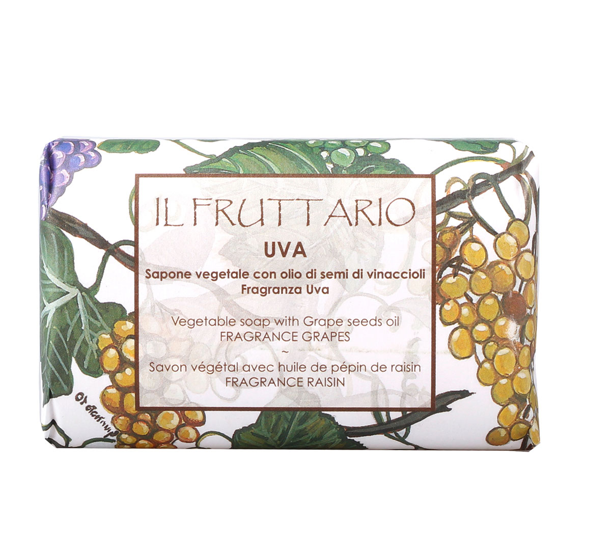 Мыло натуральное с ароматом виноградаи экстрактом виноградных косточек, 150 гр, Iteritalia65500018Натуральное косметическое мыло ,изготовленное в соответствии с традициями мастеров Саронно. Обогащено маслом виноградных косточек,которое с древних времен считается антиоксидантом и борется против старения кожи. Для всех типов кожи, в том числе для сухой.