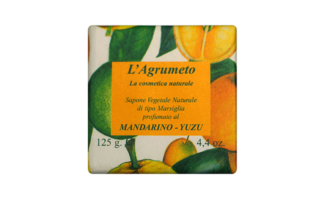 Iteritalia Мыло высококачественное натуральное растительное с ароматом МАНДАРИН-ЮДЗУ, 125 г высококачественное натуральное мыло апельсин и корица 100 гр parachute