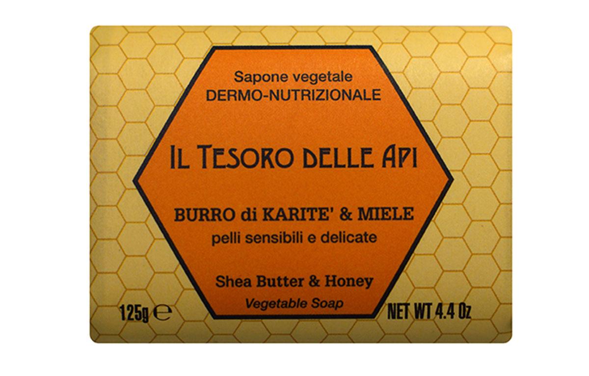 Iteritalia Мыло высококачественное натуральное растительное с питательным для кожи эффектом. МАСЛО КАРИТЭ И МЕД для чувствительной и тонкой кожи, 125 г мыло косметическое iteritalia натуральное растительное мыло