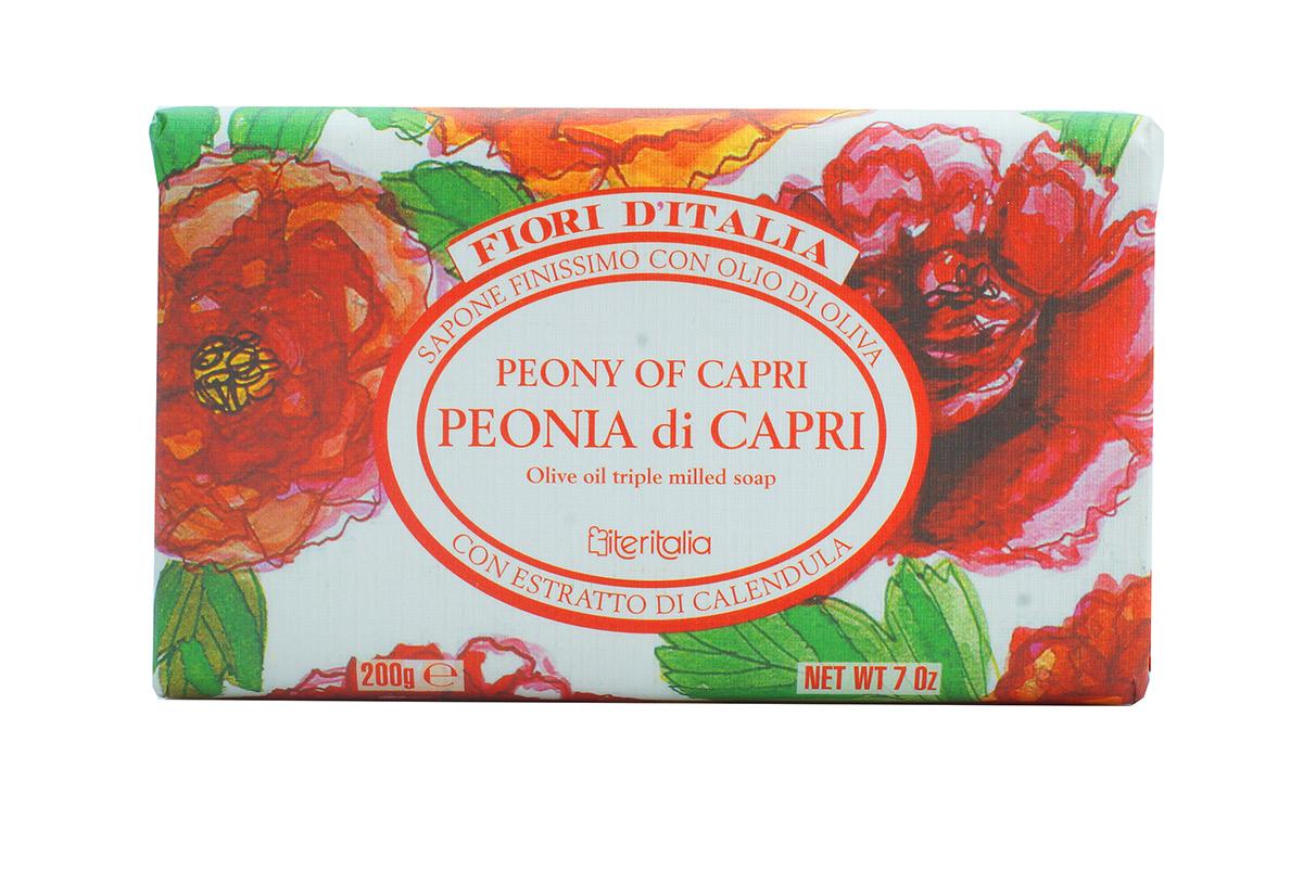 Iteritalia Мыло натуральное косметическое с оливковым маслом, аромат ПИОНЫ КАПРИ, 200 г982Высококачественное натуральное растительное мыло, обогащенное оливковым маслом и экстрактом цветов календулы, которое обладает питательным, увлажняющим, успокаивающим и смягчающим действием. Мягкое мыло делает кожу гладкой и бархатистой и имеет изысканный запах пиона.