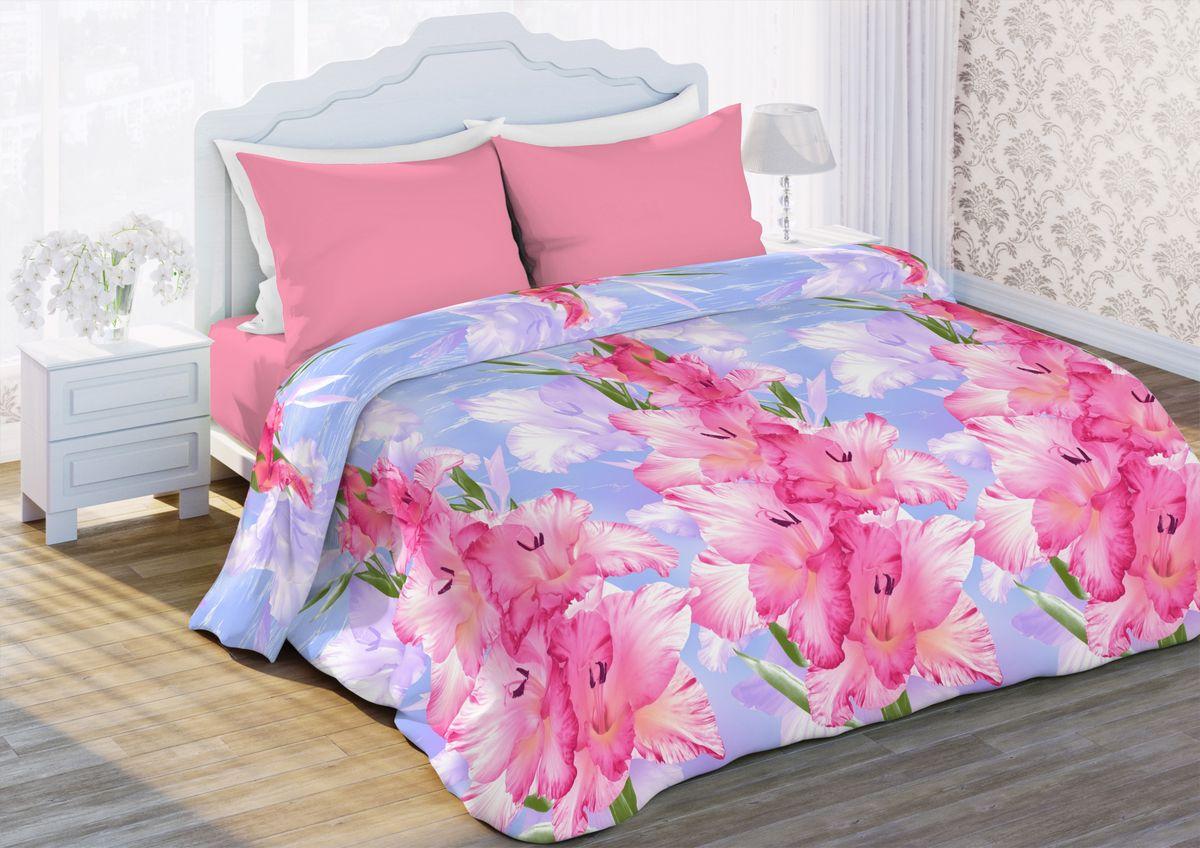 Комплект белья Любимый дом Гладиолусы, евро, наволочки 70 x 70, цвет: розовый. 341364341364