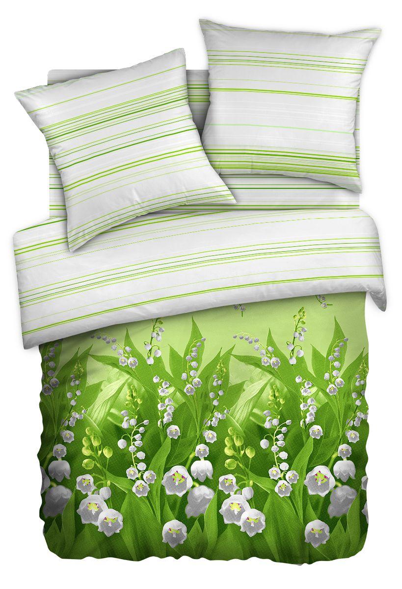 Комплект белья Любимый дом Ландыши, семейный, наволочки 70 x 70, цвет: светло-зеленый. 342320342320