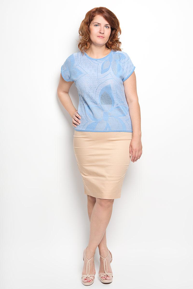 Джемпер женский Milana Style, цвет: голубой. w88. Размер 46w88Стильный женский джемпер Milana Style, изготовленный из высококачественного материала, мягкий и приятный на ощупь, не сковывает движений и обеспечивает наибольший комфорт.Модель с круглым вырезом горловины и короткими рукавами великолепно подойдет для создания идеального образа. Он послужит отличным дополнением к вашему гардеробу. В нем вы всегда будете чувствовать себя уютно и комфортно в любое время года.