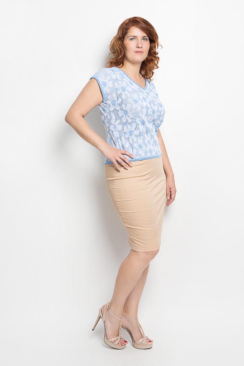 Джемпер женский Milana Style, цвет: голубой, белый. w95. Размер 48w95Стильная вязаная женская футболка Milana Style, выполненная из хлопка и ПАНа, прекрасно подойдет для повседневной носки. Материал очень мягкий и приятный на ощупь, не сковывает движения и позволяет коже дышать. Футболка с V-образным вырезом горловины и цельнокроеными короткими рукавами оформлена оригинальным ажурным узором. Вырез горловины, края рукавов и низ модели связаны мелкой резинкой, что предотвращает деформацию при носке. Такая модель будет дарить вам комфорт в течение всего дня и станет модным дополнением к вашему гардеробу.