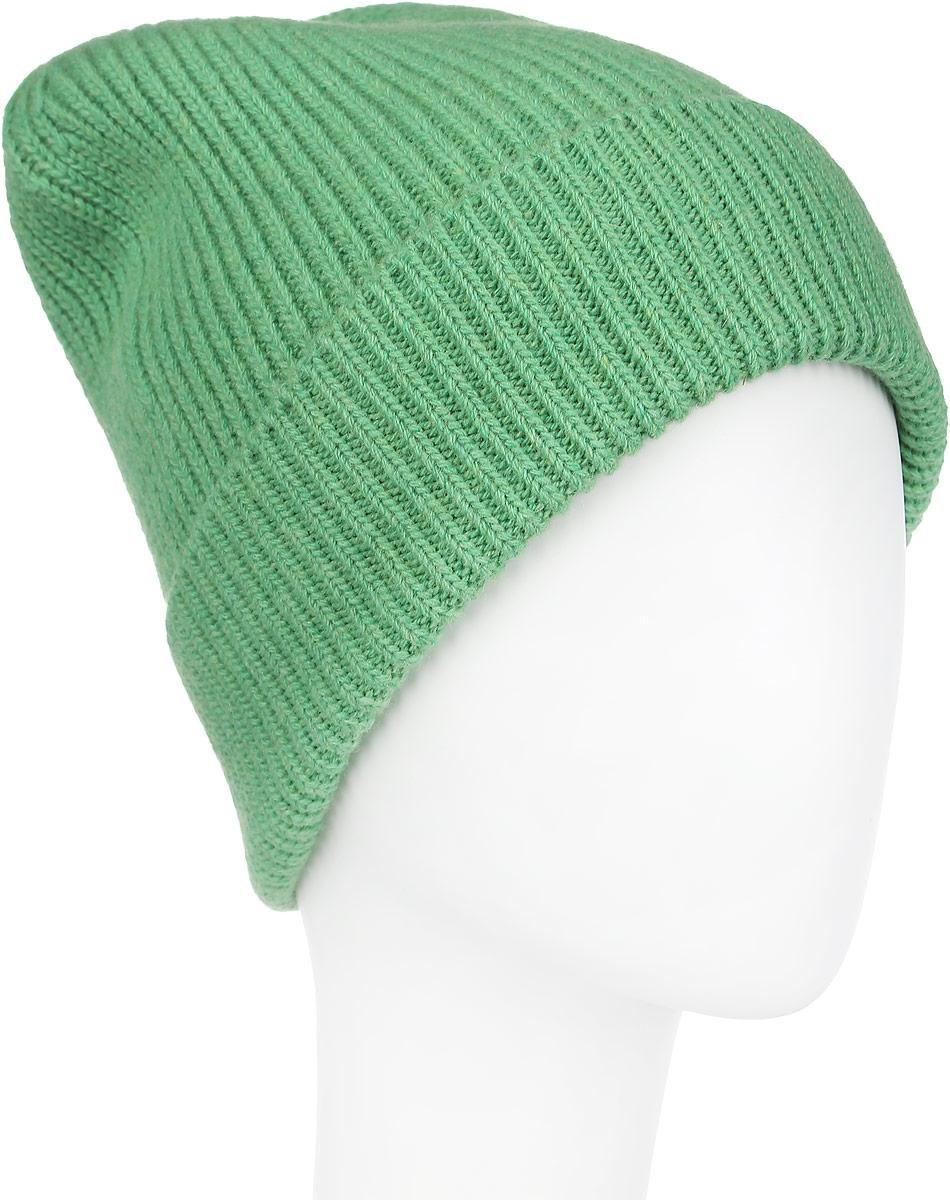 Шапка женская Venera, цвет: светло-зеленый. 9806087-15. Размер универсальный9806087-15Вязаная женская шапка Venera отлично дополнит ваш образ в холодную погоду. Шапка выполнена простой вязкой из мягкой пряжи, которая не доставит дискомфорта при носке. Сочетание шерсти и нейлона максимально сохраняет тепло и обеспечивает удобную посадку. Теплая шапка с отворотом станет отличным дополнением к вашему осеннему или зимнему гардеробу, в ней вам будет уютно и тепло!