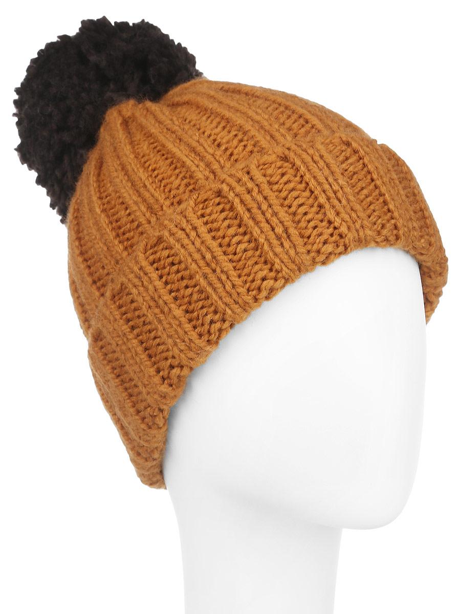 Шапка женская Venera, цвет: терракотовый. 9806137-17. Размер универсальный9806137-17Вязаная женская шапка Venera отлично дополнит ваш образ в холодную погоду. Шапка выполнена крупной вязкой из мягкой пряжи, которая максимально сохраняет тепло и обеспечивает удобную посадку и не доставит дискомфорта при носке. Теплая шапка спомпоном и отворотом станет отличным дополнением к вашему осеннему или зимнему гардеробу, в ней вам будет уютно и тепло!