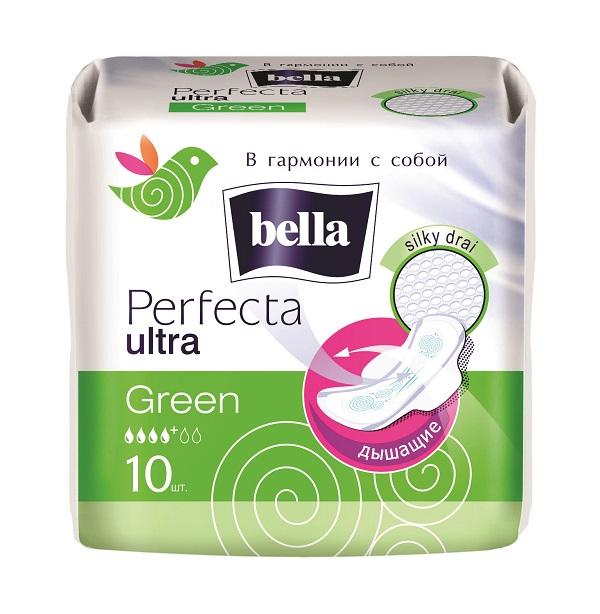 Bella Прокладки супертонкие Perfecta Ultra Green, 10 штBE-013-RW10-193Bella Perfecta Ultra GreenСупертонкая прокладка толщиной всего 2мм, абсолютно незаметнa даже под облегающей одеждой. Покрыта супервпитывающей сеточкой Silky Drai, которая моментально пропускает влагу внутрь и удерживает ее, обеспечивая чувство защищенности. Исключительный комфорт обеспечивает использование паропропускающего защитного ламината - кожа дышит! Специальная система SEP надежно защищает от протеканий.