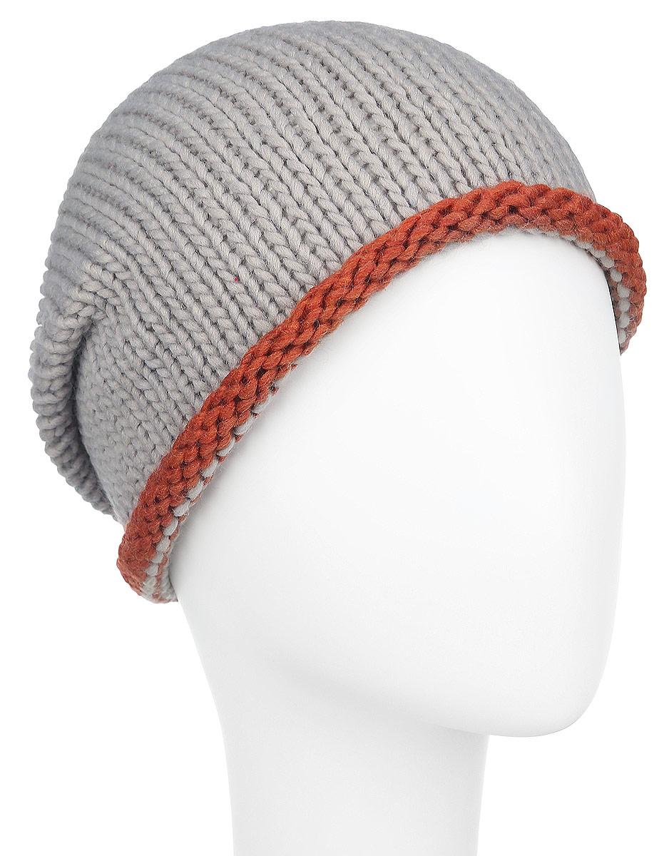 Шапка женская Venera, цвет: серо-бежевый, терракотовый. 9801441. Размер универсальный9801441Удлиненная женская шапка Veneraне только согреет в прохладную погоду, но и сделает простой образ стильным и модным. Несмотря на обычную вязку и спокойную расцветку, этот аксессуар сумеет стать главным акцентом вашего образа. Края шапочки слегка закруглены.Шапка Venera станет отличным дополнением к вашему гардеробу, в ней вам будет уютно и тепло!
