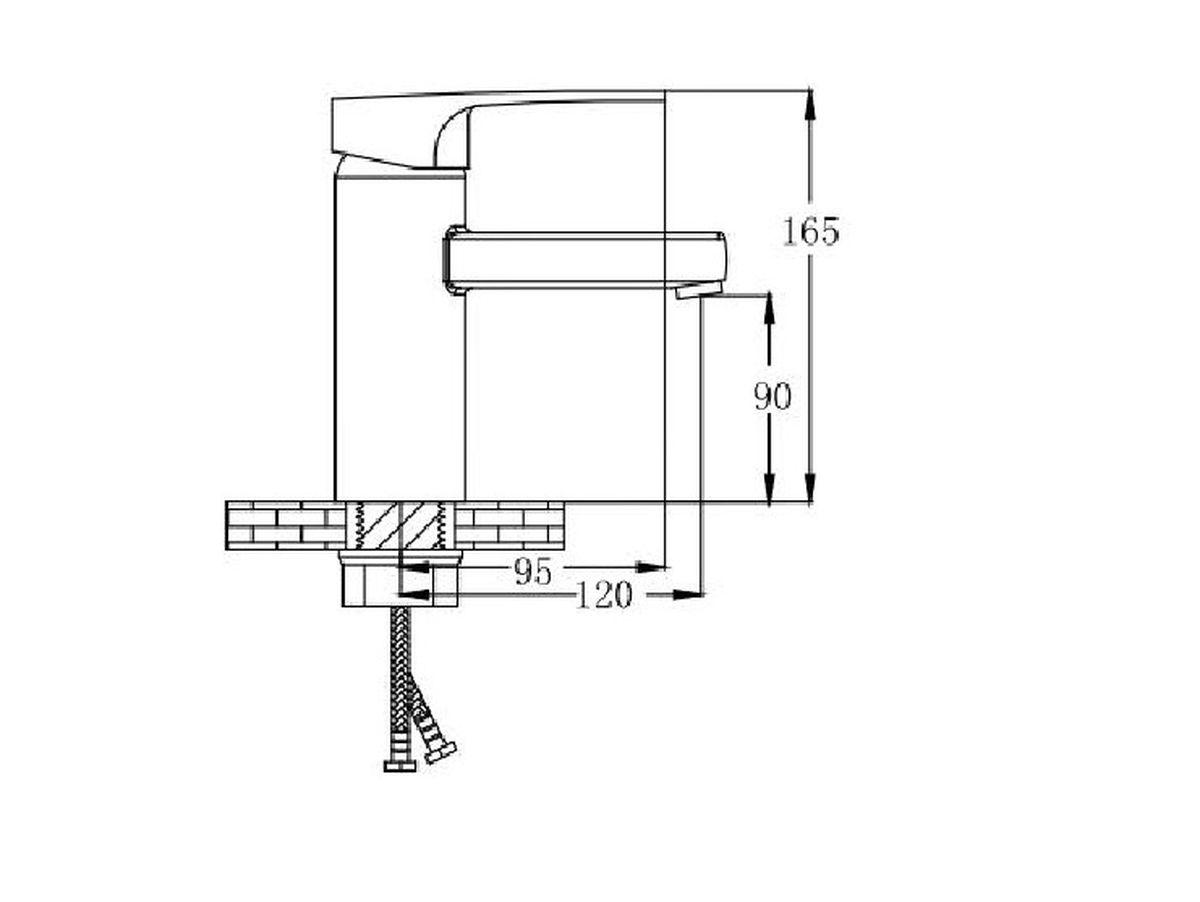 """Смеситель для умывальника New RMS """"SL77"""" предназначен для смешивания холодной и горячей воды, устанавливается на мойку. Выполнен из  высококачественной латуни повышенной прочности, устойчивой к коррозии. Оснащен коротким изливом и керамическим  картриджем. Крепление на гайку. Аэратор выполнен из пластика. В комплекте гибкая подводка. Максимальное давление: 10 бар. Испытательное давление: 16 бар. Рекомендуемое давление: 1-5 бар, при давлении выше 6 бар рекомендуется использовать регулятор давления. Максимально допустимая температура: +80°С. Рекомендуемая температура: +65°С. Размер присоединения к угловому вентилю для умывальника: гайка 1/2"""". Кран-букса керамическая: 1/2"""". Картридж: 40 мм. Длина гибкой подводки: 35 см."""