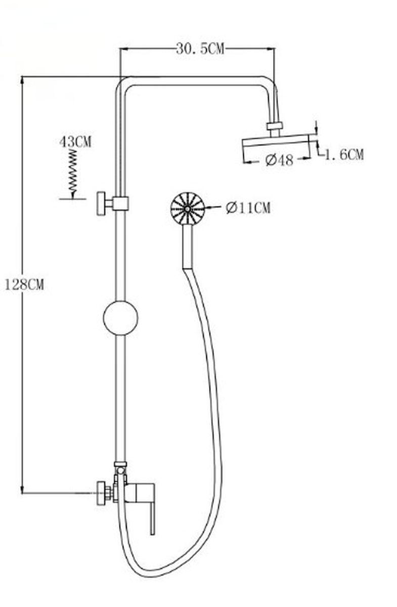 """Смеситель для душа """"РМС"""" выполнен из латуни с хромированным покрытием. Смеситель снабжен керамическим картриджем 40 мм, металлической стойкой, верхней лейкой и душевой лейкой со шлангом (1,5 м). Эксцентрики и отражатели в комплекте."""