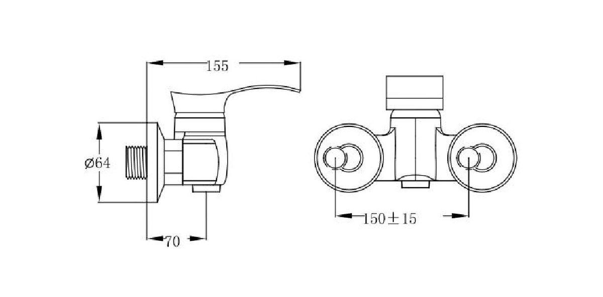 Смеситель для душа РМС изготовлен их высококачественных материалов хромированным покрытием.  Крепление смесителя настенное.   В комплект входят: эксцентрики, отражатели, металлический шланг для душа 1,5м, лейка для душа. Картридж керамический 35 мм.Особенности:- только на душ- массажная лейка- в комплекте шланг.
