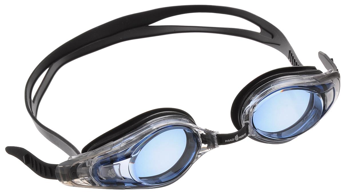 Очки для плавания с диоптриями MadWave Optic Envy Automatic, цвет: черный, прозрачный, голубой, -4,5 поло madwave madwave ma991ewuyz79