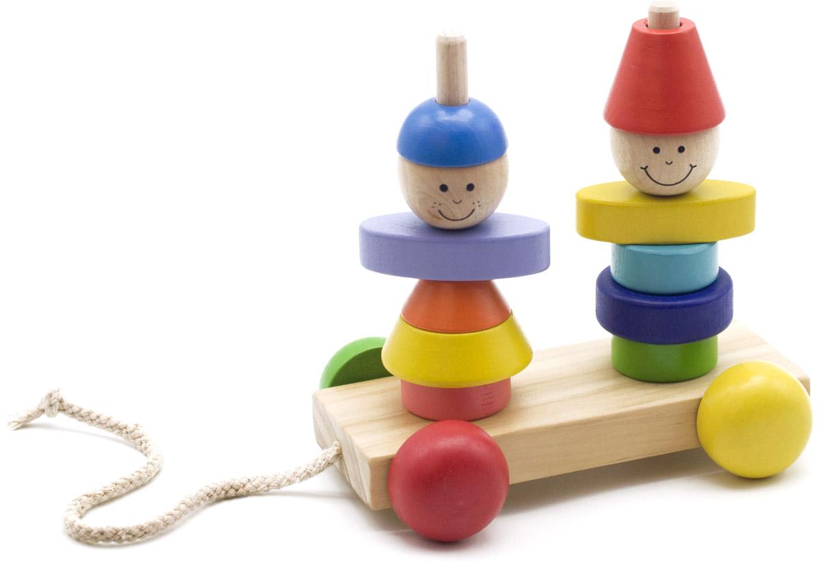 Мир деревянных игрушек Пирамидка-каталка Мальчик и девочка мир деревянных игрушек пирамидка каталка мальчик и девочка
