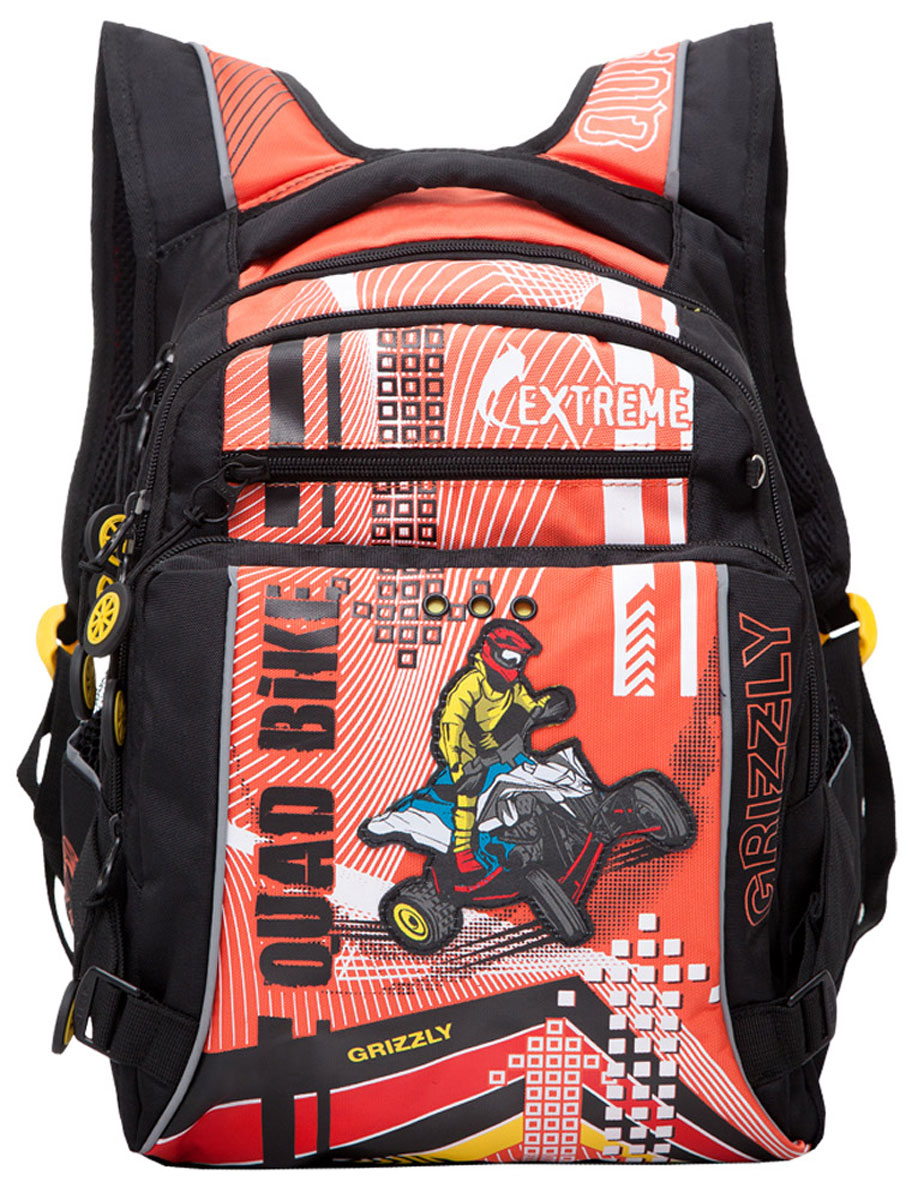 Grizzly Рюкзак детский Quad Bike цвет черный оранжевыйRB-631-1/2Школьный рюкзак Grizzly Quad Bike - это стильный рюкзак, который подойдет всем, кто хочет разнообразить свои школьные будни.Благодаря уплотненной спинке и двум мягким плечевым ремням, длина которых регулируется, у ребенка не возникнут проблемы с позвоночником. Конструкция спинки дополнена эргономичными подушечками. Рюкзак выполнен из плотного полиэстера черного и оранжевого цветов и оформлен оригинальной аппликацией.Рюкзак состоит из двух основных вместительных отделений, закрывающихся на застежки-молнии. Большое основное отделение оборудовано небольшим карманом на молнии. Во втором отделении располагается органайзер для принадлежностей. На внешней стороне рюкзак оснащен двумя карманами на застежках-молниях. По бокам рюкзака расположены два небольших сетчатых кармана. Дно рюкзака можно сделать жестким, разложив специальную панель с пластиковой вставкой, что повышает сохранность содержимого рюкзака и способствует правильному распределению нагрузки.Для удобной переноски предусмотрена текстильная ручка.Такой школьный рюкзак станет незаменимым спутником вашего ребенка в походах за знаниями.