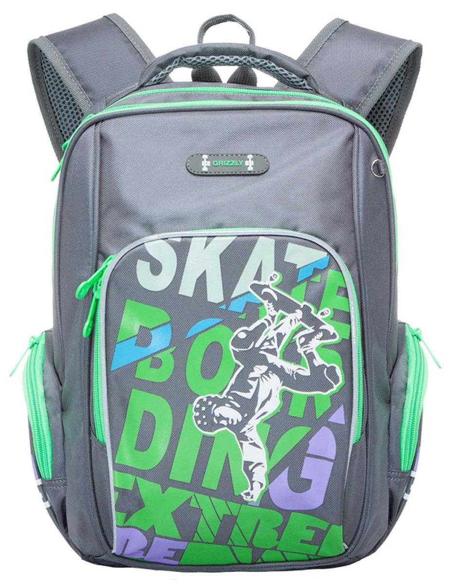 Grizzly Рюкзак школьный цвет серый салатовый grizzly рюкзак школьный цвет серый ra 780 1