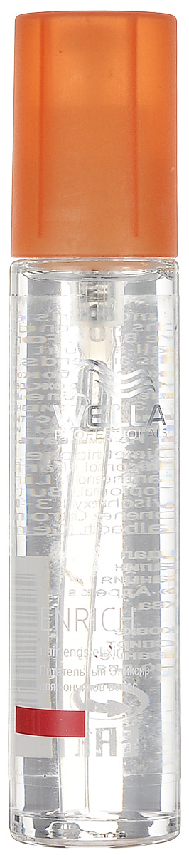 Wella Питательный эликсир Enrich Line для кончиков волос, 40 мл121495При уходе за волосами необходимо особое внимание уделять кончикам. Питательный эликсир от Wella уменьшает хрупкость кончиков волос, улучшает их состояние, устраняет спутанность. Он подходит для ежедневного применения, обеспечивая мягкий уход локонам. Средство восстанавливает поврежденные участки волос, питает секущиеся концы, повышает их эластичность.Эликсир оказывает увлажняющее, регенерирующее и смягчающее действие.В состав входят, помимо экстракта шелка, такие компоненты, как эксклюзивная салонная формула, витамин Е, глиоксиловая кислота, пантенол.