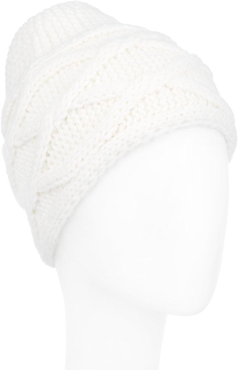 Шапка женская Venera, цвет: белый. 9803987-01. Размер универсальный9803987-01Вязаная женская шапка Venera отлично дополнит ваш образ в холодную погоду. Шапка выполнена крупной фактурной вязкой из мягкой пряжи, которая не доставит дискомфорта при носке. Сочетание используемых материалов максимально сохраняет тепло и обеспечивает удобную посадку. Теплая шапка Venera станет отличным дополнением к вашему осеннему или зимнему гардеробу, в ней вам будет уютно и тепло!