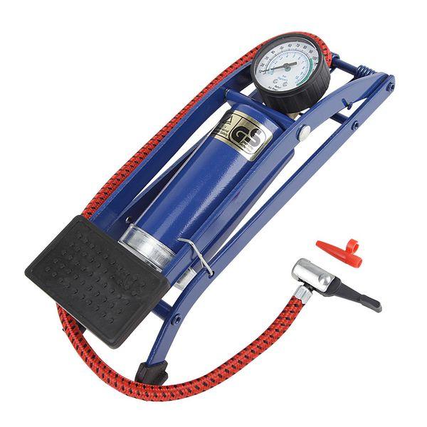 Насос ножной Foot Pump, одинарный, с манометром, цвет: синий. Т15701