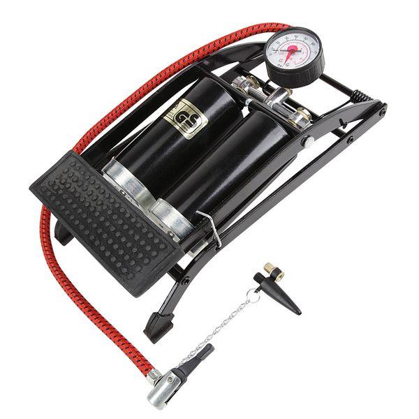 Насос двухкамерный ножной Foot Pump авто/вело ниппель, с манометром, цвет: черный. Т15702